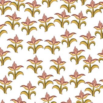 녹색 및 분홍색 임의의 튤립 꽃이 인쇄된 격리된 매끄러운 패턴입니다. 흰색 배경. 식물 장식. 포장지 및 패브릭 질감을 위한 그래픽 디자인. 벡터 일러스트 레이 션.