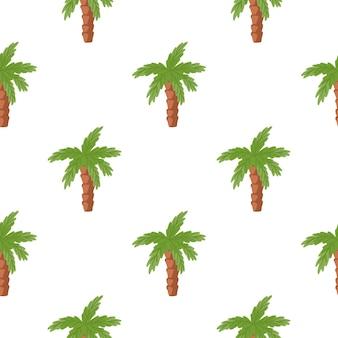 緑のココナッツ椰子の木の飾りとの分離されたシームレスなパターン。白色の背景。自然の落書きの形。