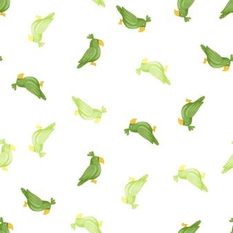 녹색 임의 앵무새 실루엣으로 격리 된 완벽 한 패턴입니다. 흰 바탕. 새 장식입니다. 직물 디자인, 직물 인쇄, 포장, 덮개에 적합합니다. 벡터 일러스트 레이 션.