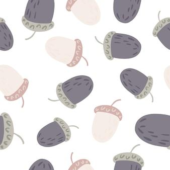 灰色とベージュのランダムな栗の飾りとの分離シームレスパターン