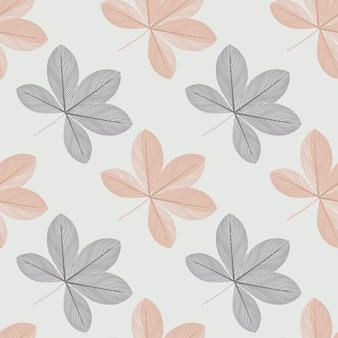 Изолированные бесшовные модели с рисованной каракули шеффлер цветы формы.