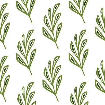 Изолированные бесшовные модели с орнаментом каракули ветви листьев в зеленых тонах.