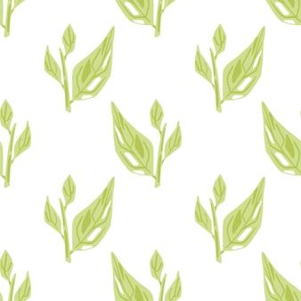 밝은 녹색 단풍으로 격리된 매끄러운 패턴은 흰색 바탕에 장식을 남깁니다. 포장지 및 패브릭 질감을 위한 그래픽 디자인. 벡터 일러스트 레이 션.