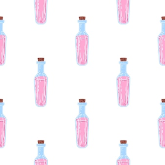 Isolated seamless pattern with magic potion bottle ornament.