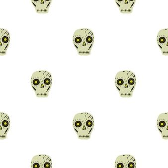 メキシコの頭蓋骨の装飾飾りとの分離シームレスパターン。白い背景にベージュのスケルトンシェイプ。ストックイラスト。テキスタイル、ファブリック、ギフトラップ、壁紙のベクターデザイン。