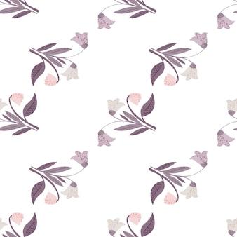 Изолированные бесшовные модели с пастельными фиолетовыми лесными цветами букет орнаментом