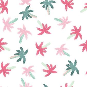 ピンクとブルーのランダムな小さなヤシの木の要素との分離されたシームレスなパターン。白色の背景。ファブリックデザイン、テキスタイルプリント、ラッピング、カバー用に設計されています。ベクトルイラスト。