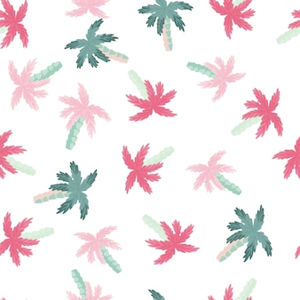 Isolated seamless pattern with pink and blue random small palm tree elements. white background. designed for fabric design, textile print, wrapping, cover. vector illustration.