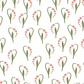 谷の形のピンクの小さなユリとの分離されたシームレスなパターン。白色の背景。シンプルなスタイル。ストックイラスト。テキスタイル、ファブリック、ギフトラップ、壁紙のベクターデザイン。