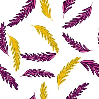 紫と黄色のランダムなローズマリーの飾りとの分離されたシームレスなパターン。白色の背景。生地のデザイン、テキスタイルプリント、ラッピング、カバーに最適です。ベクトルイラスト。