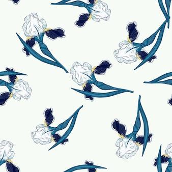Изолированные бесшовные модели с случайными синими формами цветы ириса. белый фон. абстрактная печать. векторная иллюстрация для сезонных текстильных принтов, ткани, баннеров, фонов и обоев.