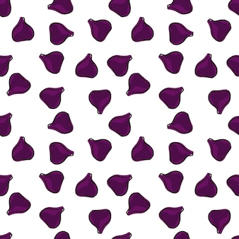Isolated seamless pattern with random little purple fig silhouettes print