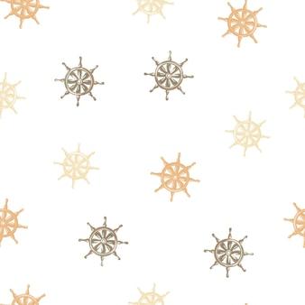 Изолированные бесшовные модели с корабельным орнаментом руля. белый фон. случайные элементы парусника океана.