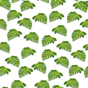小さなランダムな緑のモンステラの葉の形で孤立したシームレスなパターン。白色の背景。