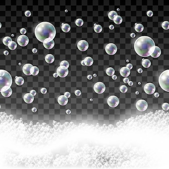 Isolated  seamless pattern with soap bubbles and shampoo foam.