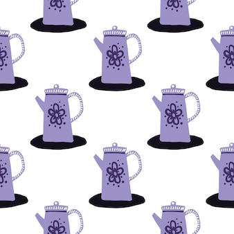 Isolated seamless purple teapots pattern. doodle kitchen ornament on white background.