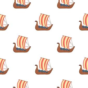Изолированные бесшовные силуэты парусный корабль с красными деталями. фон древнего транспорта.