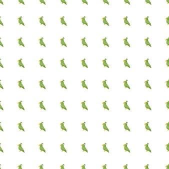 작은 녹색 앵무새 모양으로 격리된 매끄러운 동물원 패턴입니다. 흰색 배경. 낙서 동물 장식. 패브릭 디자인, 섬유 인쇄, 포장, 커버용으로 설계되었습니다. 벡터 일러스트 레이 션.