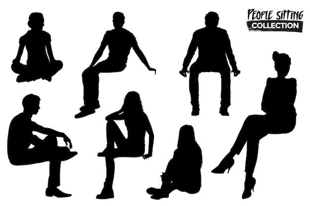Изолированная коллекция силуэтов сидящих людей. графические ресурсы.
