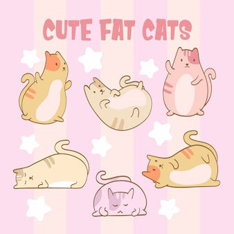 Isolated set of a cute fat cats