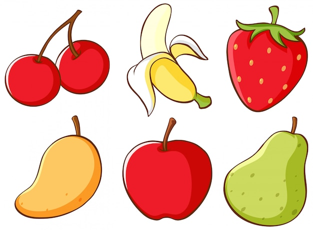Isolated set of fruits