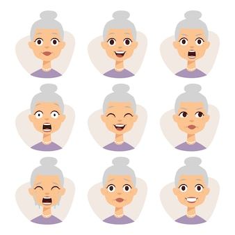 Isolated set of funny granny avatar expressions face emotions  illustration.