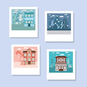 Isolated set of houses buildings in various photos