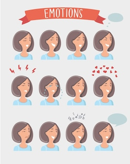 Isolated set of illustration of female avatar expressions