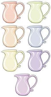 Isolated set of jar in different colors