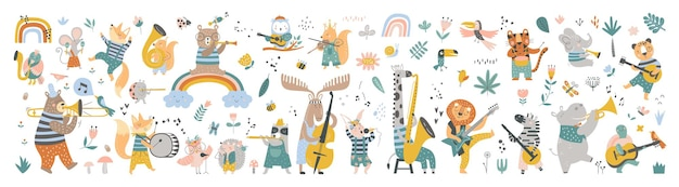 Isolated set with cute animals playing on different music instruments in scandinavian style cartoon