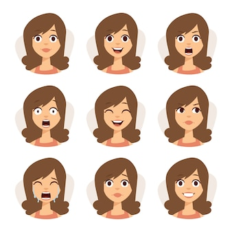 Isolated set of woman avatar expressions face emotions  illustration.
