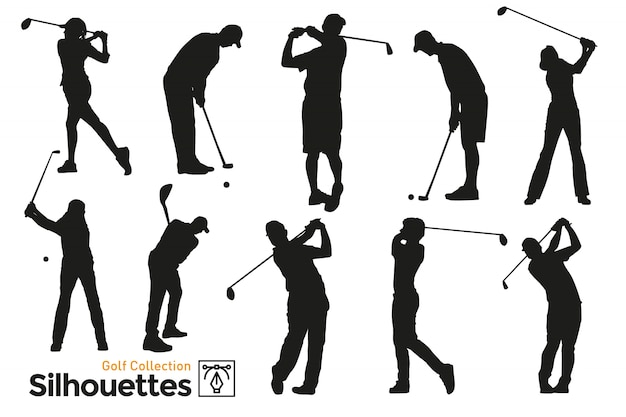 Isolated silhouettes of golf. players practicing sport.