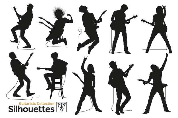 Isolated silhouettes of guitarists. musicians playing the guitar.
