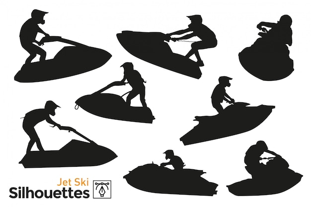 Isolated silhouettes of jet ski.