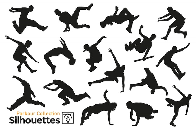 Isolated silhouettes of sportsmen practicing parkour around the city. premium collection.