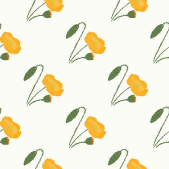 孤立したシンプルな花のシームレスなパターン。白い背景の上のケシオレンジシルエット。