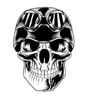 Isolated skull with biker helmet