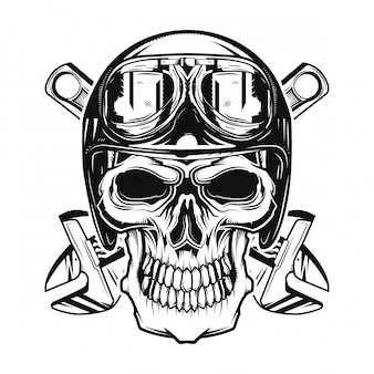 Isolated skull with a helmet and glasses on and wrenches