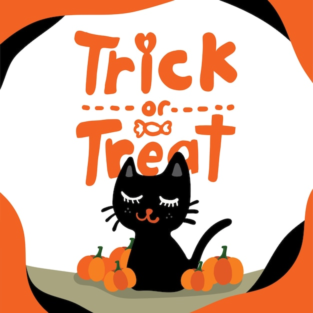 """Isolated smiling black cat and orange pumpkins with """"trick-or-treat"""