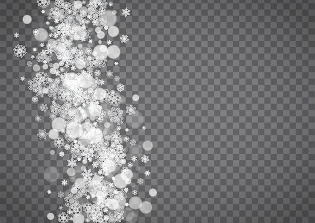 透明な灰色の背景に孤立した雪片。冬の販売、パーティーの招待状、バナー、販売のためのクリスマスと新年のデザイン。水平の冬の窓。魔法の孤立した雪片。シルバーフレーク