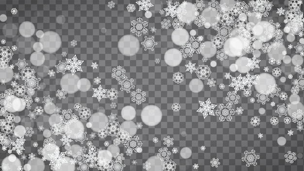 Isolated snowflakes on transparent grey background. winter sales, christmas and new year design for party invitation, banner, sale. horizontal winter window. magic isolated snowflakes. silver flakes