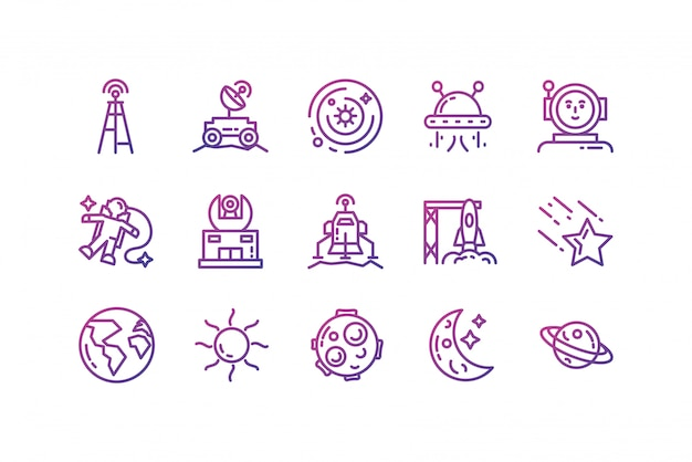 Isolated space icon set design