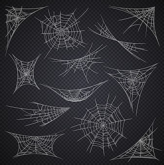 Isolated spider web and cobweb, halloween holiday decorations on vector transparent background. cartoon spiderwebs or sticky nets on corners, halloween horror night party spooky decor