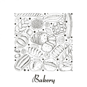 Isolated square of bakery products