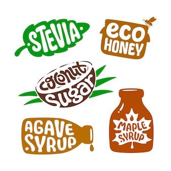 건강한 천연 유기농 영양을 포장하기 위한 격리된 스티커입니다. 벡터 레이블 스테비아, 에코 꿀, 코코넛 설탕, 아가베, 메이플 시럽. 비건 바이오 푸드. 천연 유기농 감미료. 인포그래픽용 템플릿