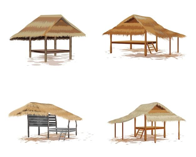 Isolated straw hut on white background