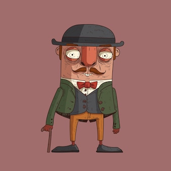 Изолированные стильный джентльмен с тростью