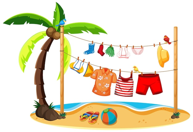 Isolated summer clothes hanging outdoor