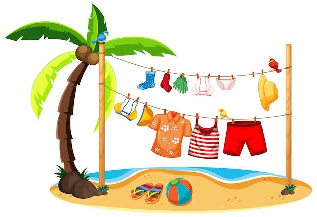 Изолированные летняя одежда висит открытый