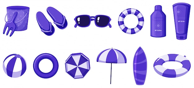 Isolated of summer items in purple color